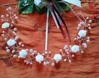 Headdresses, tiara, hair wreath for bride, flower girl or first communion child, color choice