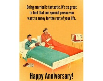 Married For Life Anniversary Card. Funny Anniversary Card, Snarky Anniversary Card