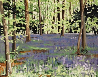 Bluebell Sunshine mounted print of an original oil painting by Tracy Butler