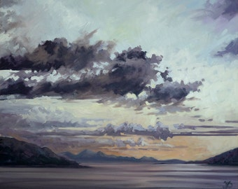 Morar At Sunset mounted print of an original oil painting by Tracy Butler