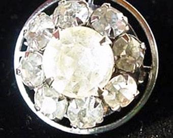 Small Crystal Round Rhinestone Brooch