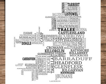 Kerry - Typographical Map of County Kerry, Ireland