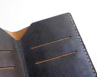 Wallet Glossy black / Toffee - Leather & Alcantara suede - Handmade