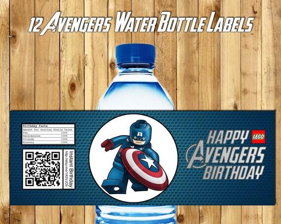 12 Lego Avengers Water Bottle Labels - Download Print Lego Avengers Bottle Wrappers Lego Avengers Party Favor Lego Avengers Birthday Favor