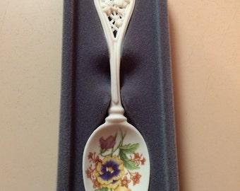 Avon Porcelain Spoon - Pansy