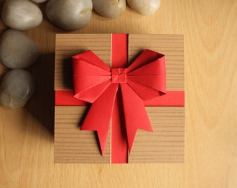 Presentation Gift Box with Red Origami Bow Decoration by DPJ Designs