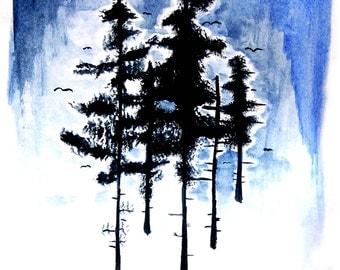 """Watercolor """"Dark Trees""""- 8X10 Print"""