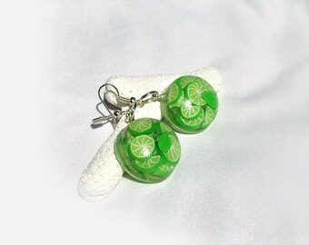 Transparent Clear Glass-Like Mojito Earrings - Lime Lemon - Green Summer Round