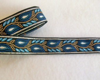 "Metallic Silver and Blue Paisley Woven Jacquard Ribbon 3/4"" wide"