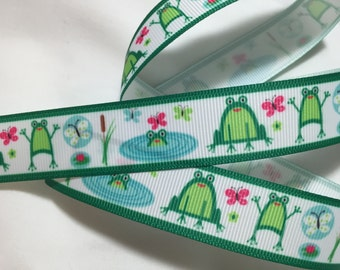 Cutest Frogs Grosgrain Ribbon 7/8""