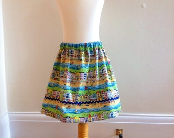 Girls skirt. Seaside town pattern. Aged 6-7 years old