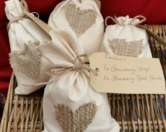 cotton & hessian gift  filled bags
