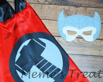 REVERSIBLE Two Color Superhero Cape and Deluxe Felt Mask - Child Cape - Party Favor - Boys / Girls Cape and Mask – MMTC0015