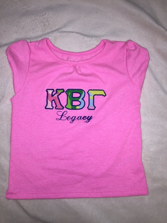 Sorority legacy girls baby letter shirt with by for Cute greek letter shirts