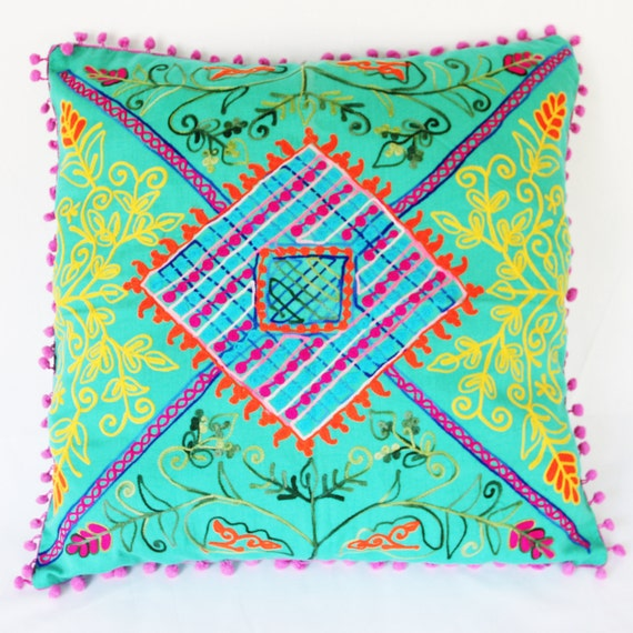 Decorative Floral Pillow Case Cover Cushion Throw (Mint Green) (50x50cm)