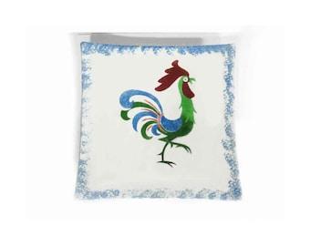 "Vintage 50s Mid-Century Rooster Chicken Plate Platter, Sponge Blue Border Centered Rooster, Pedestal Pottery, Retro Charm, 10-1/4"" Sq Mint"