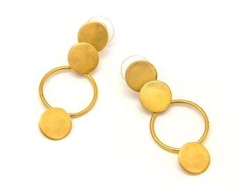 geometric earrings - geometric gold earrings - gold plated earrings - gold dangle earrings - Wedding earrings - bridal earrings