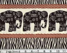 African Elephant Fabric ~ 100% Woven Cotton ~ Sold by the Half-Yard, Out of Print and Hard to Find