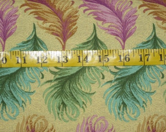 Ostrich Plumes by Carla Miller, Rowan Fabrics, Gold Multi-Color Design, Sold By the Yard, Ships to Most Countries