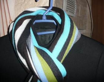 Vintage SAINT HILAIRE blue white gray black striped  winter large scarf.