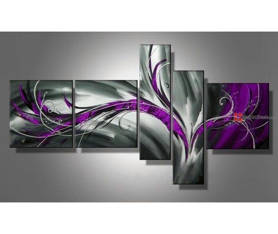 5 panel purple grey wall art abstract art canvas by. Black Bedroom Furniture Sets. Home Design Ideas