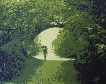 Rainy Lane - Silk Screen Print FOR SALE