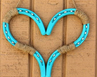 Horseshoe Heart With Stainless Nails and Jute Twine, Horseshoe Decor, Wedding Decor, Horseshoes, Western, Wall Hanging, Love, Art , Passion