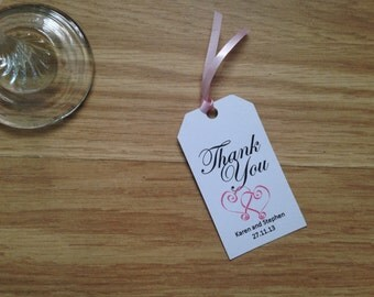 Personalised Wedding Heart Thank-You Tags