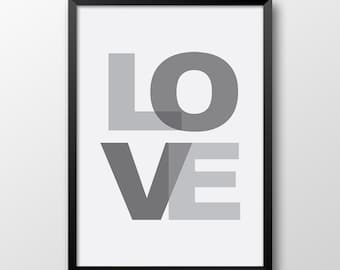 Love poster, Black and white home decor, Typography art, Love print, Wall art 196