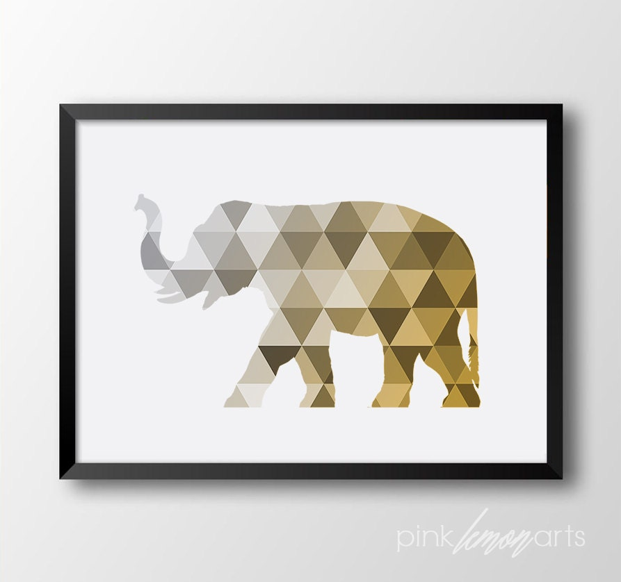 Elephant Home Decor: Elephant Wall Art Geometric Elephant Home Decor Gold Elepant