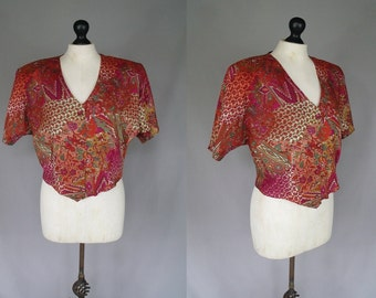 Vintage 90's Middle Eastern style cropped shirt | L