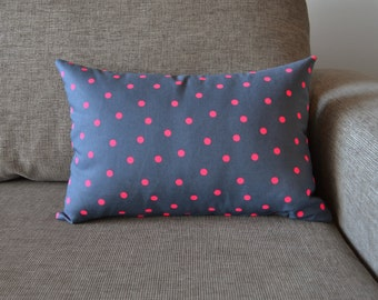 Cotton Cushion Cover Grey & Neon Pink Spotty Spot Pattern Size 50cm x 35cm