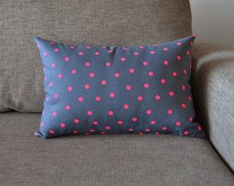 Cotton Cushion Cover Grey & Neon Pink Spotty Spot Pattern Size 50cm x 35cm