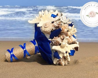 Beach wedding bridal bouquet, Sea shells bridal bouquet, blue bouquet, Wedding starfish bouquet