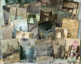 itKuPiLLi - SteamPunkCity - 3 x Digital Collage Sheet ATC png - Printable, Instant download