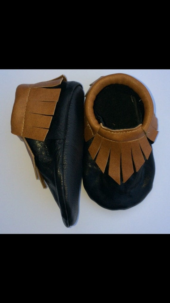 Black and cognac leather moccasins