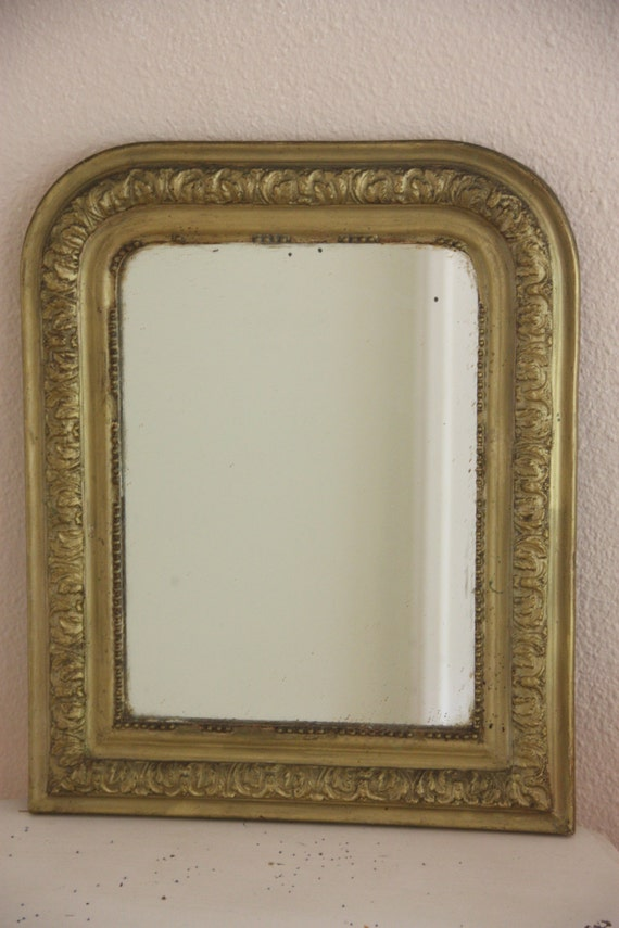 Decorative Antique French Louis Philippe Mirror With Original Bronze Colored Paint Finish