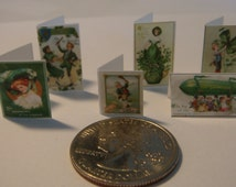 6 Miniature  Vintage Irish St. Patrick 'Paddy' Day Cards  -  Dollhouse 1:12 scale