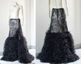 Long Lace Skirt Bride Steampunk Victorian Wedding Skirt CHRISST