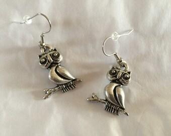 Silver Owl Earrings - A2