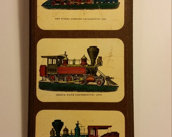 Vintage Plaque with three lithographs of 19th century Locomotives