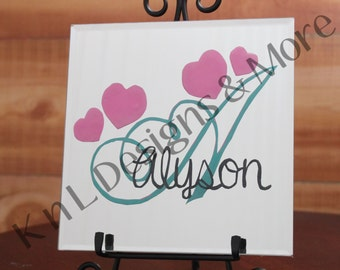 Hand Painted 8 to 12 Beveled Mirror Personalized with Name