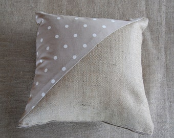 Hessian and Spots cushion cover, spotty cushion cover, neutral, natural, shabby chic, rustic, dotty, spotty, spots
