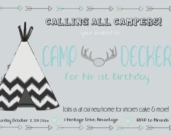 Birthday Invite - Camping theme