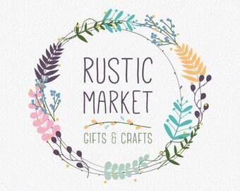 Floral Logo Design | Rustic Logo | Flower Logo | Wreath Logo | Floral Wreath Logo | Logo Design | Premade Logo | Logo | Business Logo