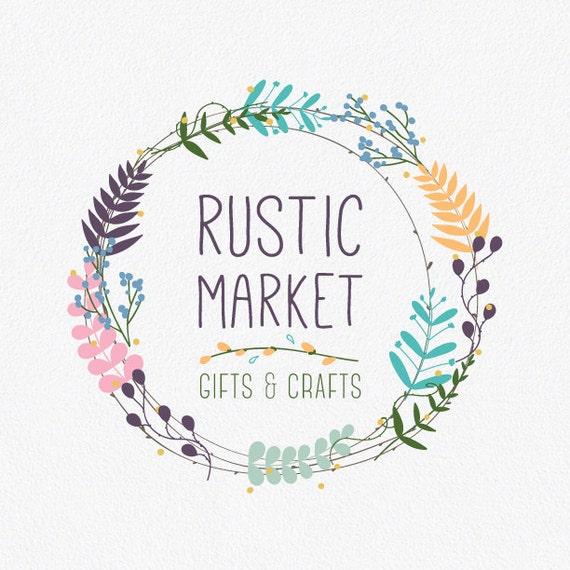 Floral Logo Design Rustic Logo Flower Logo Wreath Logo