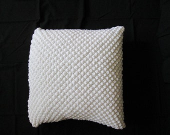 Hand Knit White Pillow Done in the Trinity Pattern