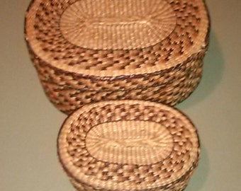 Two  Wicker Baskets stackable with lids