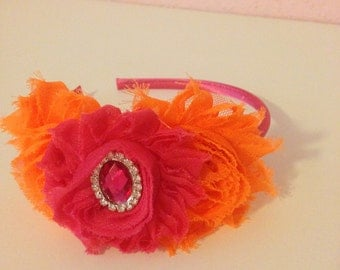 Orange and hot pink headband