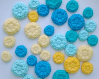 Edible Fondant flowers- set of 30 cake/cupcake toppers.